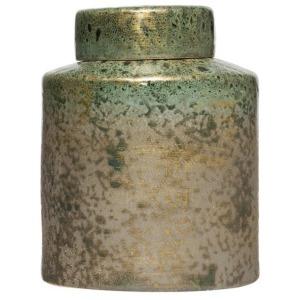 Decorative Ginger Jar - Reactive Glaze Iridescent Green