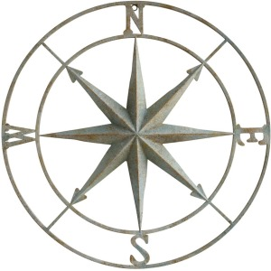 Metal Compass Wall Dcor Distressed Aqua