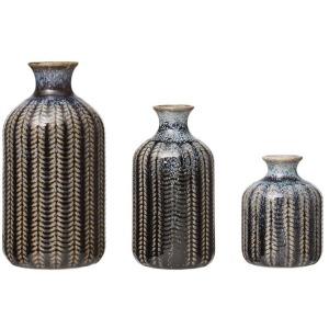 Embossed Stoneware Vase Blue - Set of 3
