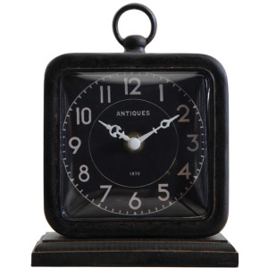 Pewter Table Clock - Black