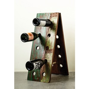 Wood 2-Sided Folding Wine Bottle Rack Holds 10 Bottles