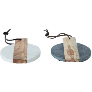 Marble & Mango Wood Individual Sized Serving Tray/Cheese Board w/ Leather String 2 Colors