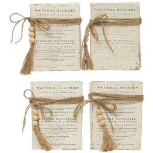 Wood Block Books with Saying & Jute Tie, White, 4 Styles