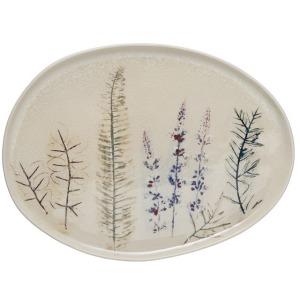 Oval Stoneware Debossed Floral Platter - Reactive Crackle Glaze