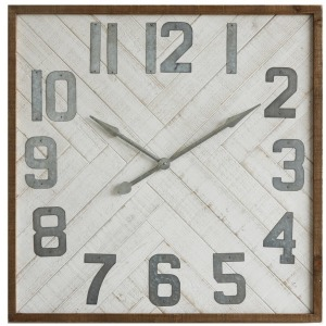 "36"" Square Wood & Metal Wall Clock"