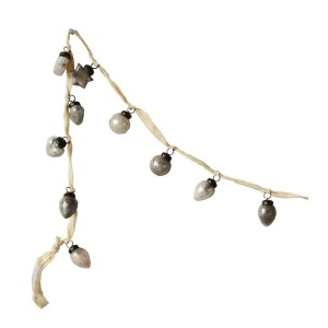 Embossed Mercury Glass Ornament Garland, Cream & Taupe