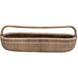 Hand-Woven Rattan Basket w/ Handle, Natural