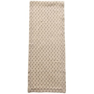 Cotton Table Runner w/ Printed Floral Pattern, Grey & Cream Color