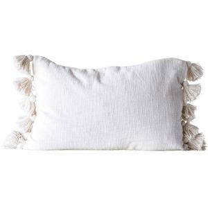 Cotton Woven Slub Pillow w/ Tassels, Cream