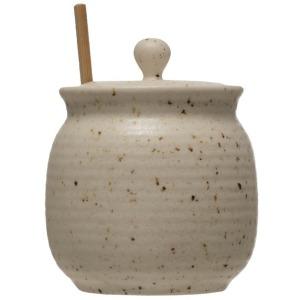 Stoneware Honey Jar w/ Wood Honey Dipper & Lid, Beige w/ Speckle
