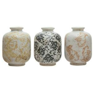 """4"""" Round x 5-3/4""""H Terra-cotta Vase w/ Transferware Pattern - 3 Styles"""