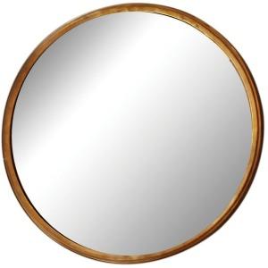 Metal Framed Convex Mirror Antique Brass Finish