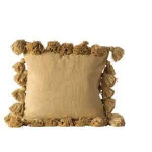 """18"""" Square Cotton Woven Slub Pillow w/Tassels, Mustard Color"""
