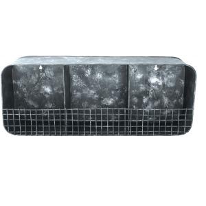 Metal Wall Shelf w/ 3 Dividers Distressed Zinc Finish