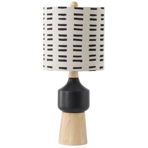 Wood & Ceramic Table Lamp w/ Mudcloth Pattern Shade