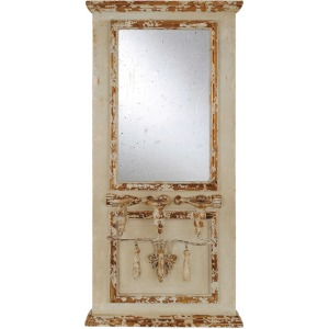 Wood Framed Antique Mirror w/ 3 Taper Holders