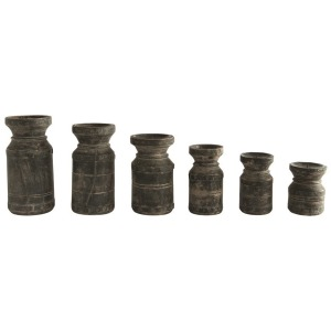 Found Wood Pillar Candle Holders, Black - Set of 6