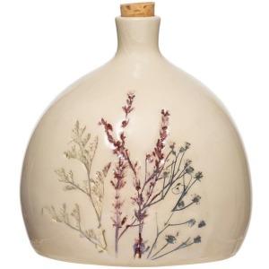 Stoneware Debossed Floral Bottle w/ Cork Stopper - Reactive Crackle Glaze