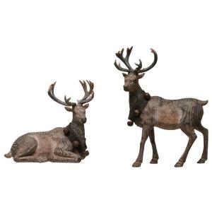 Resin Reindeer w/ Faux Wood Carving & Jingle Bell Wreath, 2 Styles