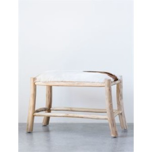 Wood & Goat Hide Stool