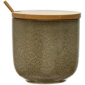 Stoneware Jar w/ Bamboo Lid & Spoon, Reactive Glaze, Brown, Set of 2 (Each Varies)
