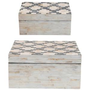 Capiz & Paper Mache Boxes w/Lids, Set of 2