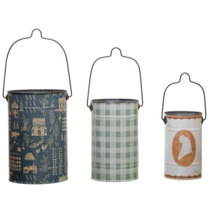 Metal Buckets with Handles & Pattern, Set of 3