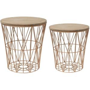 "& 15-3/4"" Round17-1/4""H Metal Basket Shaped End Tables w/ Fir Wood Lids Set of 2"