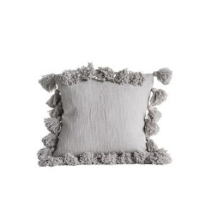 "18"" Square Cotton Pillow w/Tassels, Grey"