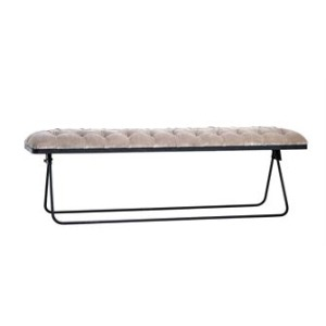 Metal & Velvet Fabric Upholstered Foldable Bench, Taupe