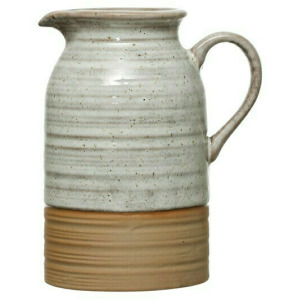 12 oz. Stoneware Creamer, Reactive Glaze, White
