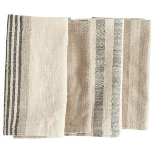 "18"" Square Woven Cotton Striped Napkins, Taupe, Black & Cream Color, Set of 4"