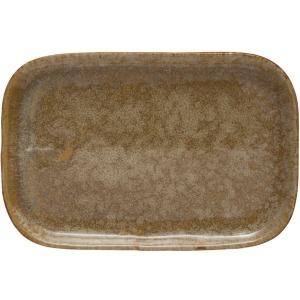Stoneware Plate, Reactive Glaze, Mustard Color
