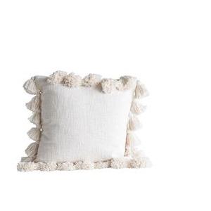 "18"" Square Cotton Pillow w/Tassels, Cream"