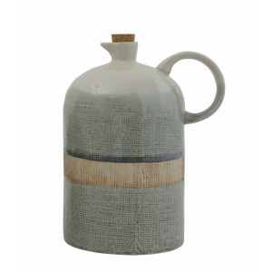 Ceramic Jug w/Cork Stopper - Reactive Glaze
