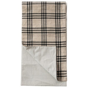 Woven Cotton & Wool Table Runner, Black Plaid