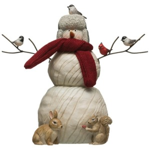 Resin Snowman w/ Critters & Fabric Scarf, White