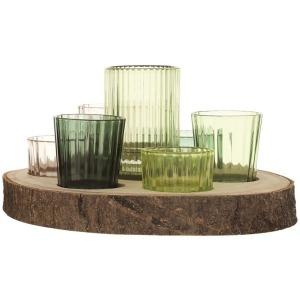 Paulownia Wood Tray w/ 7 Glass Votive Holders, Green - Set of 8