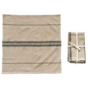 Woven Cotton Blend Napkins with Stripes, Beige & Black, Set of 4