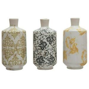 Terra-cotta Vase w/ Transferware Pattern, Multi Color, 3 Styles