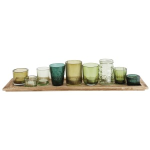 Wood Tray w/ 9 Glass Votive Holders Green Boxed - Set of 10
