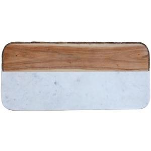 White Marble & Mango Wood Cheese Board w/ Live Edge Each One Will Vary