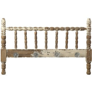 Wood Decorative Spindle Headboard w/ 4 Knobs Distressed White
