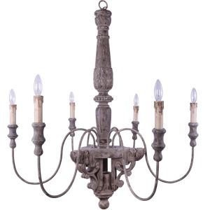 Wood & Metal Chandelier w/ 6 Lights 60 Watt Bulb Maximum UL Listed