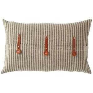 Cotton Ticking Striped Pillow w/ Leather Trim - Beige & Black
