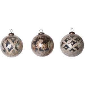 "5"" Round Etched Mercury Glass Ball Ornament, Antique Silver, 3 Styles"