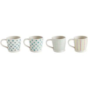 Stoneware Mug w/ Painted Pattern 4 Styles