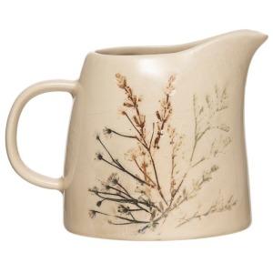 Stoneware Debossed Floral Creamer - Reactive Crackle Glaze