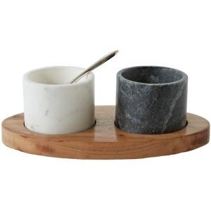 Mango Wood Tray w/ 2 Marble Bowls & Brass Spoon White/Black Set of 4