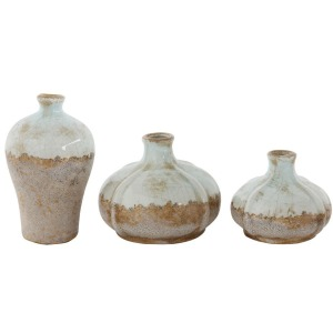 Terra Cotta Vases Aged Finish - Set of 3